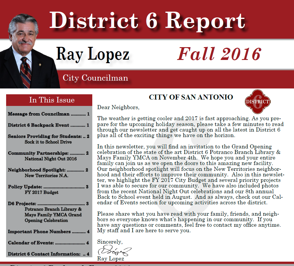Council District 6 Fall 2016 Newsletter Cover