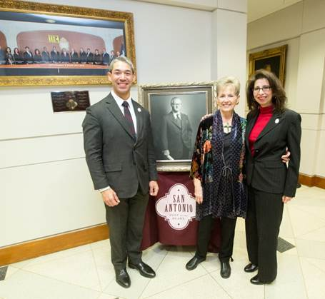 "Unveiling of Mayor Charles Becker's portrait for the ""Wall of Mayors""."