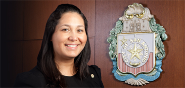 Mari Aguirre-Rodriguez and the City Seal