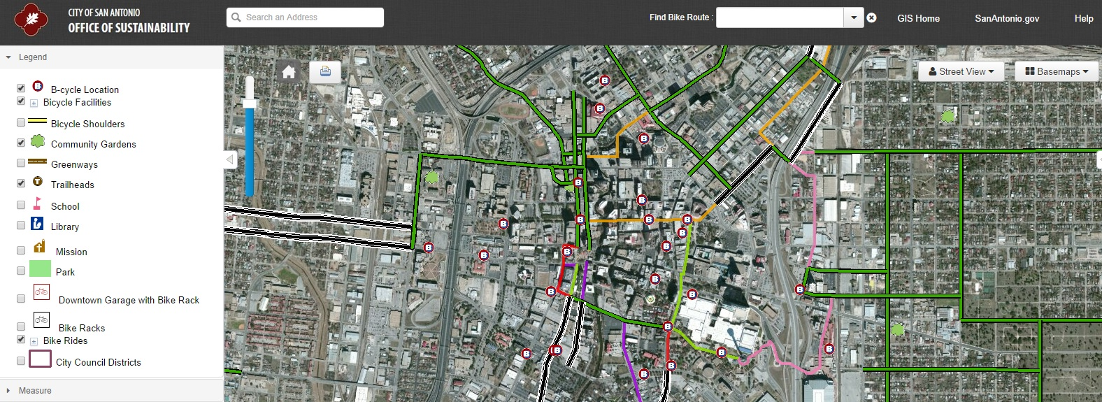 San Antonio Bikes Interactive Map