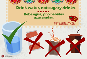 ¡VIVA Health! Drink water, not sugary beverages poster