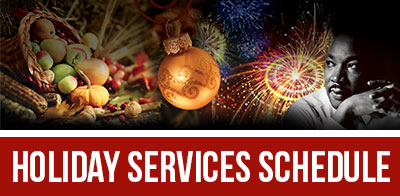 HOLIDAY SERVICES SCHEDULE