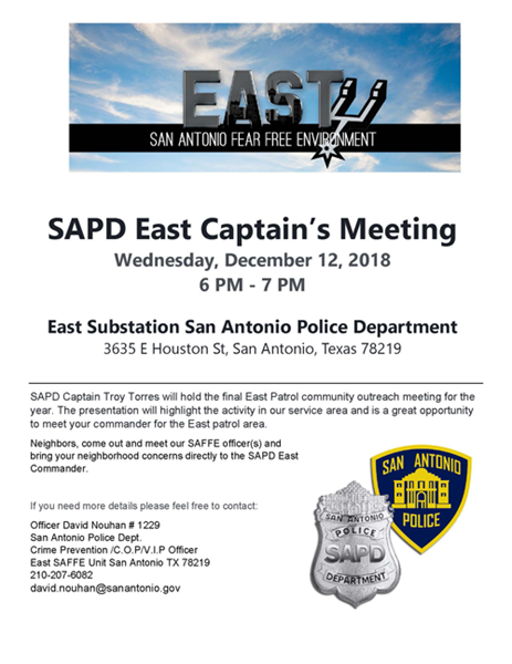 SAPD East Substation Captains Meeting - The City of San