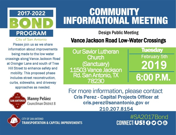 Community Meeting: Vance Jackson Rd Low-Water Crossing