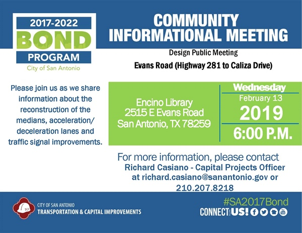 Community Meeting: Evans Road from Hwy 281 to Caliza Drive