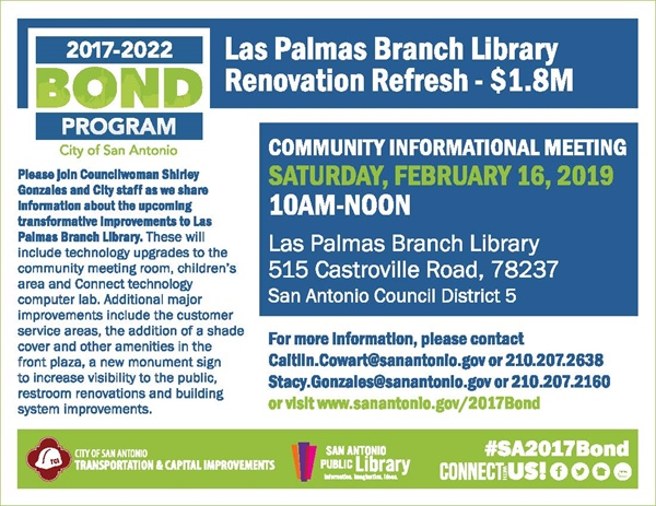Come and provide your input on planned improvements for Las Palmas Branch Library!