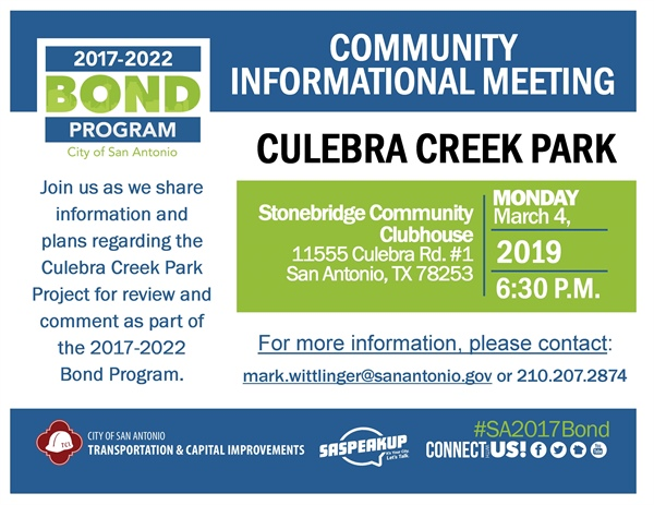 Review & comment on design plans for Culebra Creek Park
