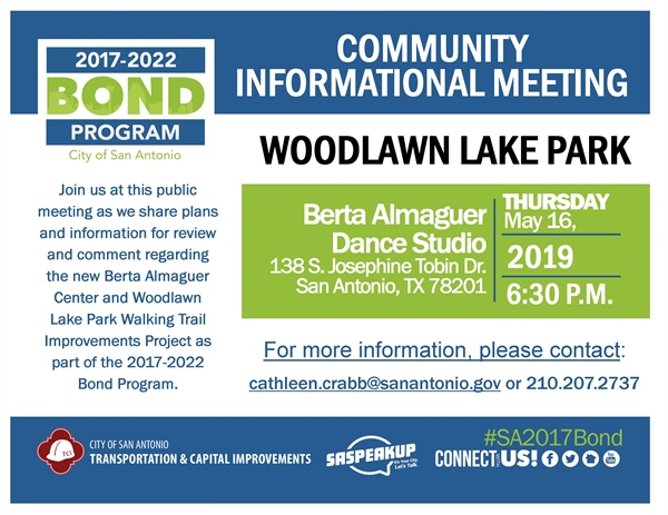 Review & comment on plans for Woodlawn Lake Park's Walking Trail & Berta Almaguer Multi-Generational Center