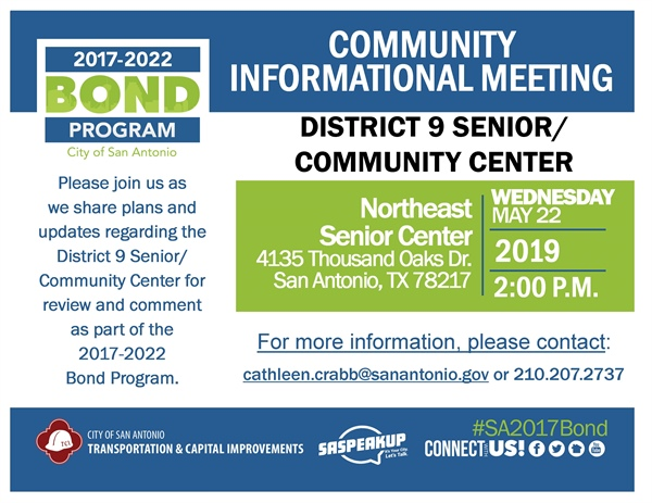 Get information and updates on the planned District 9 Senior/Community Center!