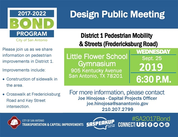 District 1 Pedestrian Mobility & Streets (Fredericksburg Road)