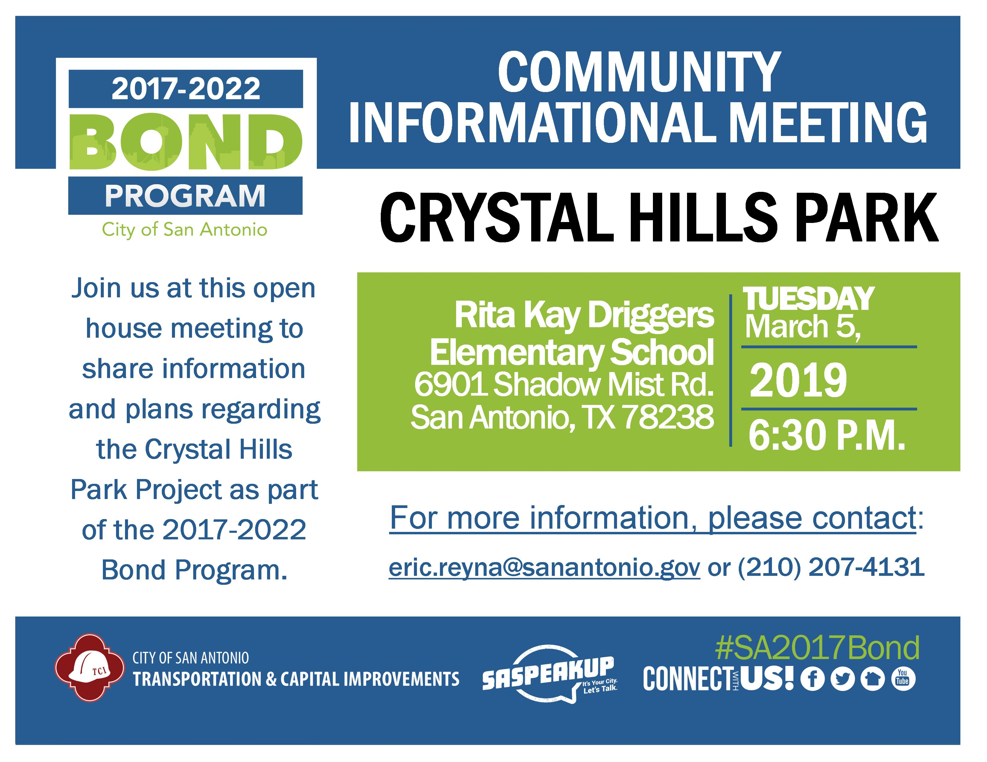 Review & comment on design plans for Crystal Hills Park