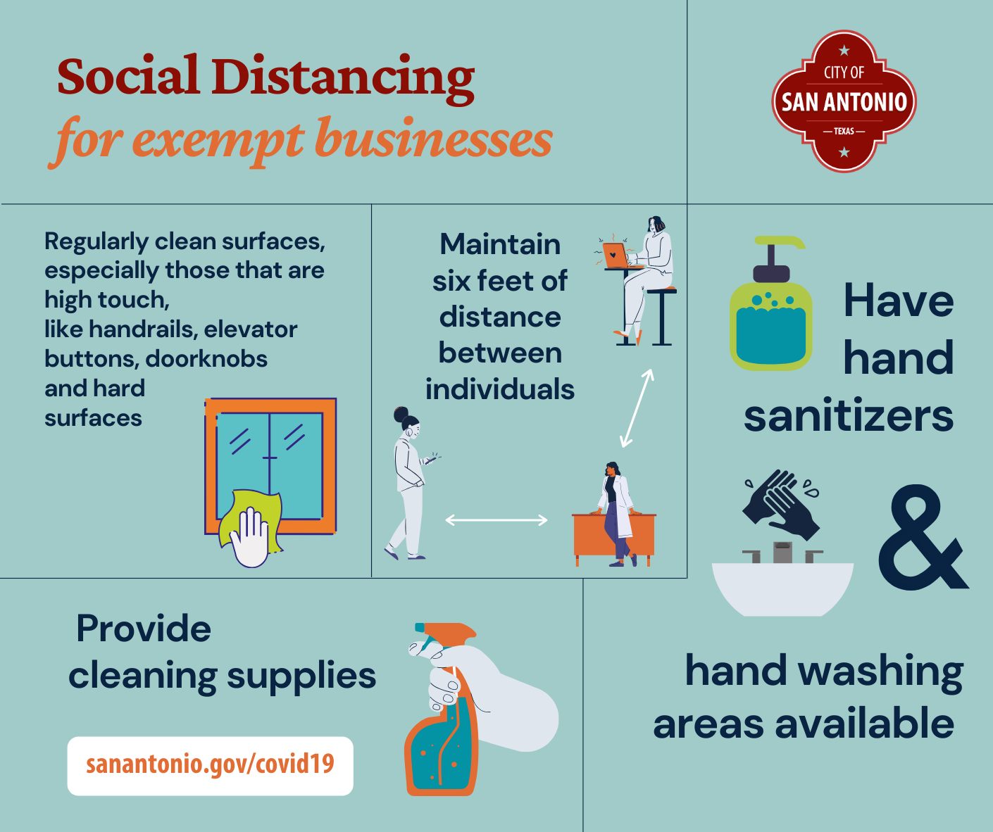 Social distancing for exempt businesses