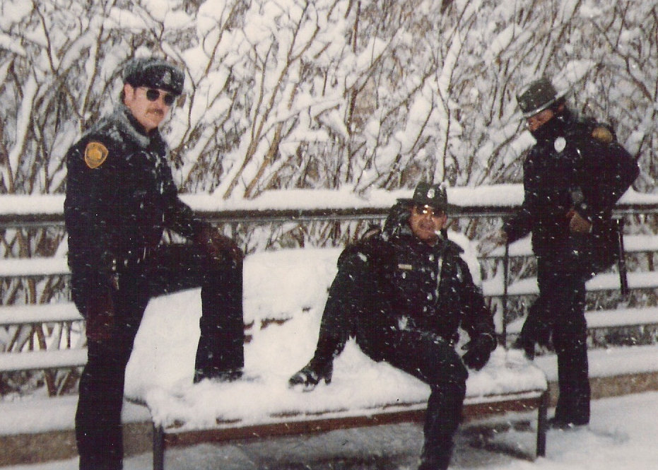 Park Rangers in the snow in 1985