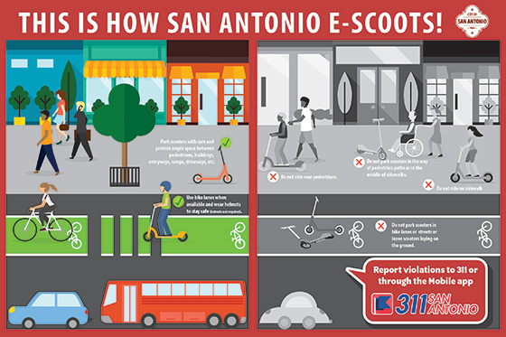 This is how San Antonio E-Scoots! Scooter Parking Dos and Don'ts Infographic