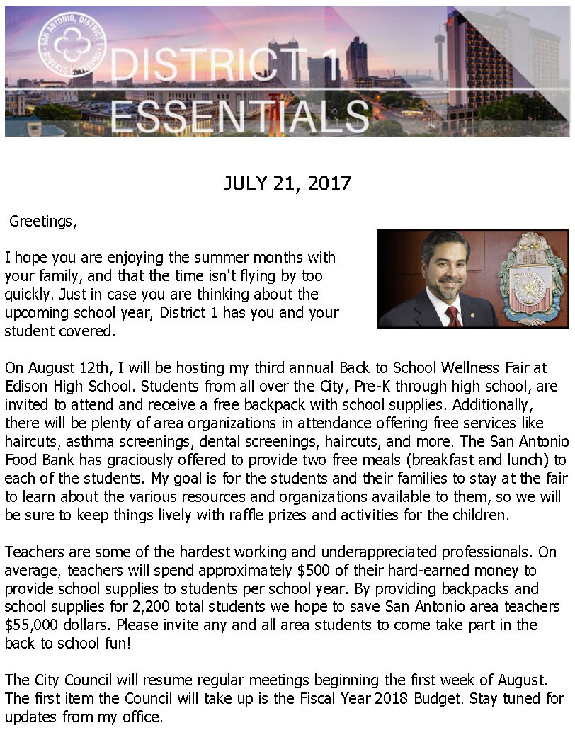 District 1 Newsletter - July 21, 2017