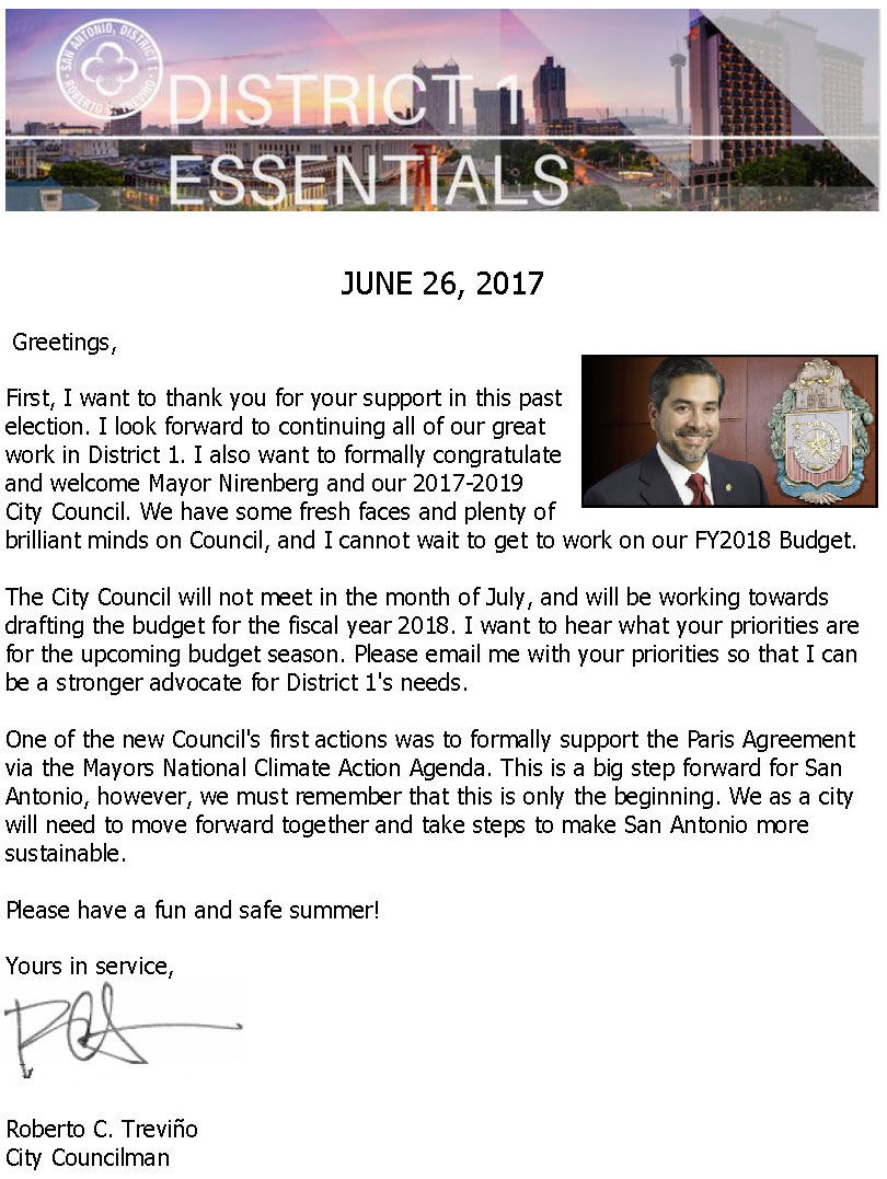 District 1 Newsletter - June 26, 2017