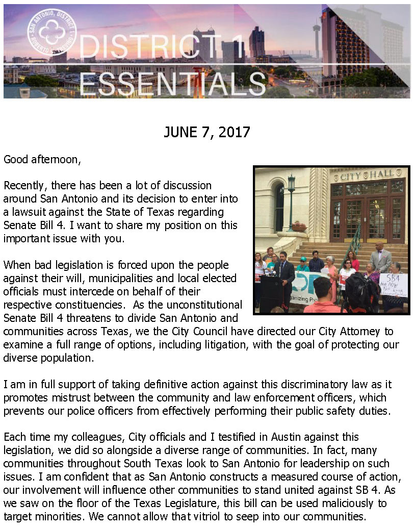 District 1 Newsletter - June 7, 2017
