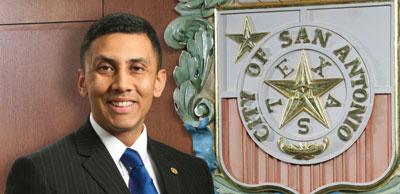 Cris Medina and the City seal
