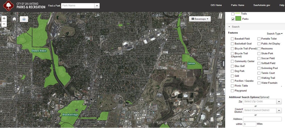 Parks Search Interactive Map