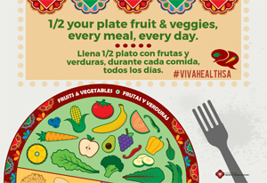 ¡Viva Health! 1/2 Your Plate, Fruits & Veggies Poster