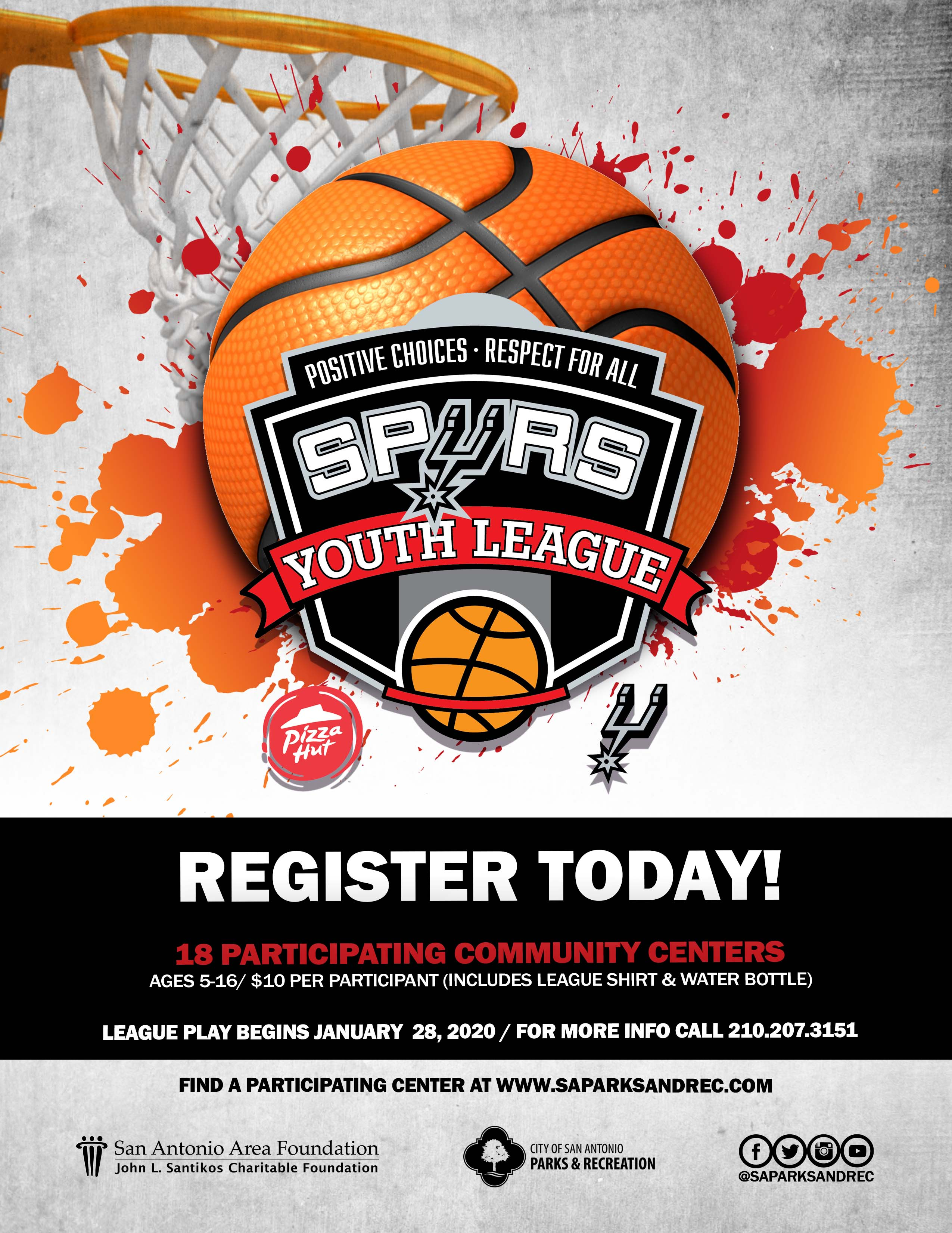 Spurs Youth Basketball League - Register Today! For more info call 210-207-3151