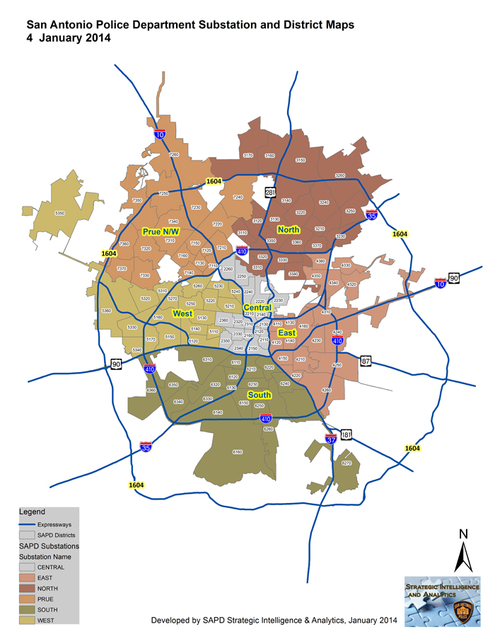 San Antonio Police Department Substations and District Map