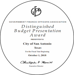 GFOA Government Finance Officers Association Distinguished Budget Presentation Award Presented to City of San Antonio Texas for the Fiscal Year Beginning October 1, 2018 - Christopher P. Morrill Executive Director