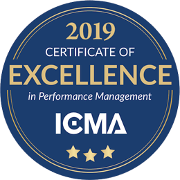2019 Certificate of Excellence in Performance Management ICMA